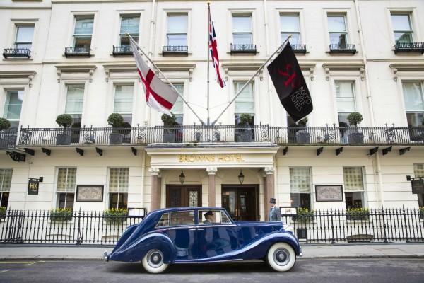 Browns-Hotel-London-Vintage-Car-Transfer-Blue-Baron
