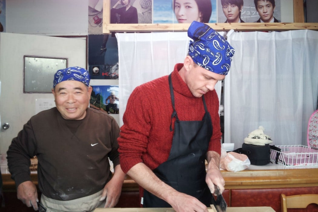 2014-03-12 Eric and Mr Minami Soba cutting