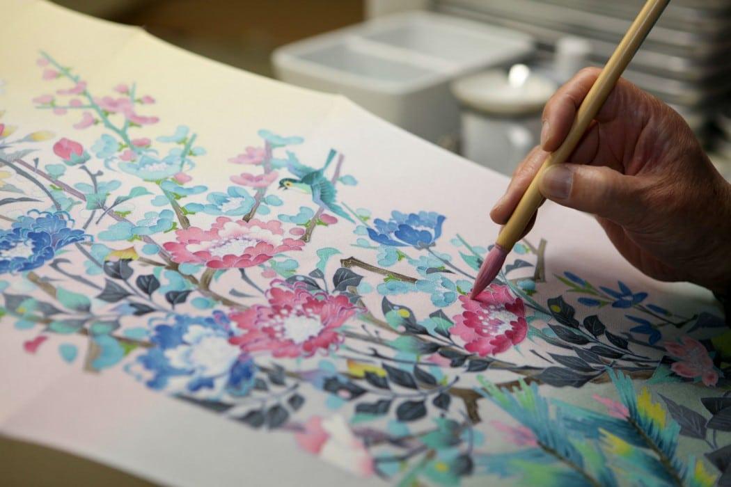 4 - Kanazawa - Kimono painting at Maeda Studio