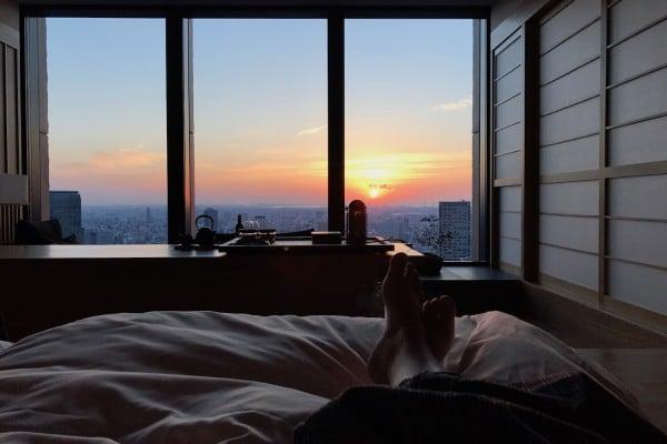 Mon Plus Beau Voyage-circuit de luxe- Hotel Aman Tokyo lever de soleil depuis ma chambre