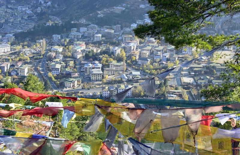 Ville de Thimphu au Bhoutan.