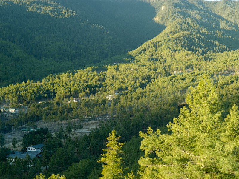 Vallée de Thimphu au Bhoutan.